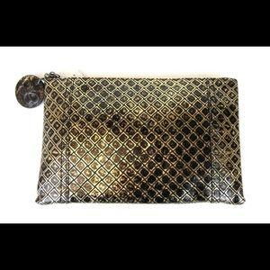 NWT leather gold and black clutch! Bogetta Venetia